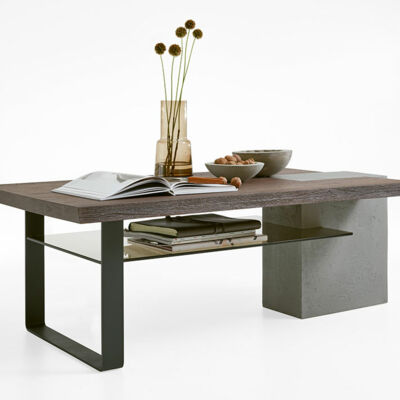 Coffee table with plank - column concrete - skids metal anthracite - glass shelf parsol bronze