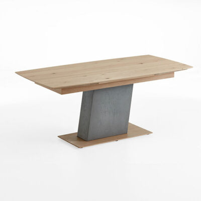 Dining table with pull-out head - column and frame concrete - floor plate wood