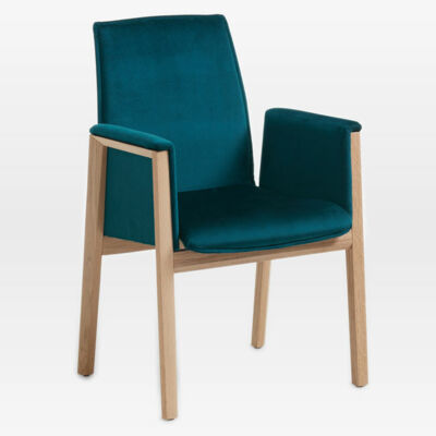 Armrest chair NURI with wooden frame - seat and back upholstered - with elastic active suspension