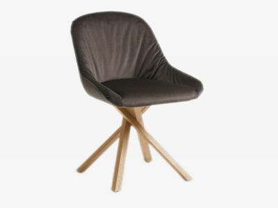 Chair Anni with wooden frame - Seat and back upholstered - Elastic active suspension (front)
