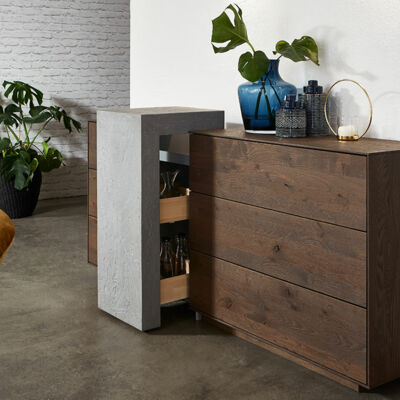 Sideboard with extract concrete pillar – Hartmann solid wood furniture