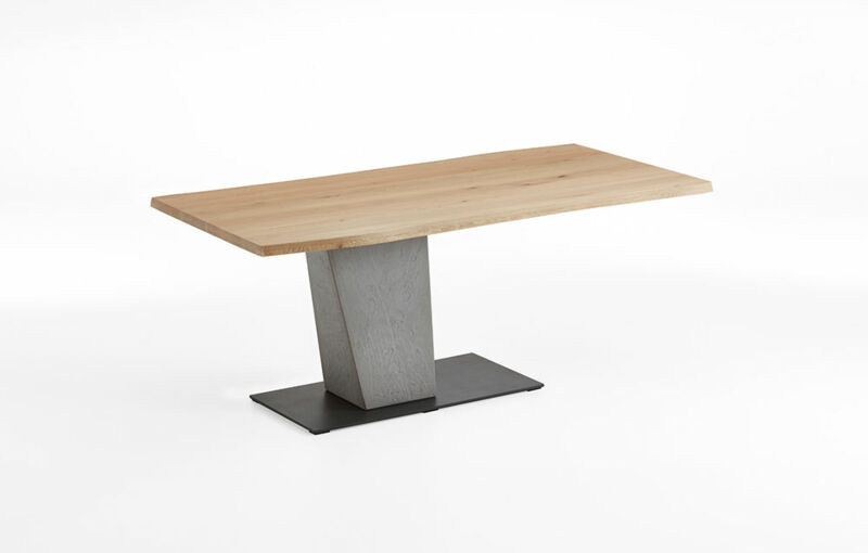 Dining table with fixed plate as plank, column concrete, base plate metal anthracite