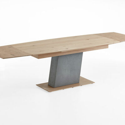 Dining table with head pull-out - column and frame concrete - floor plate wood (pulled out)