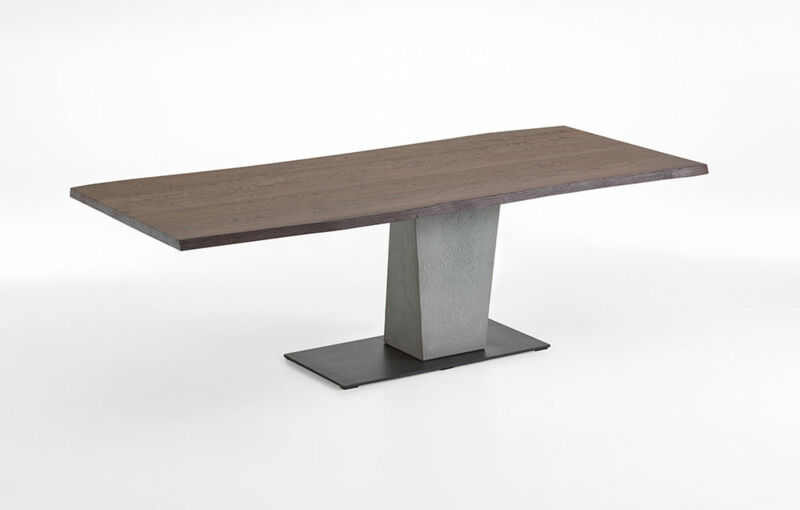Dining table with fixed plate as plank - column concrete - base plate metal anthracite