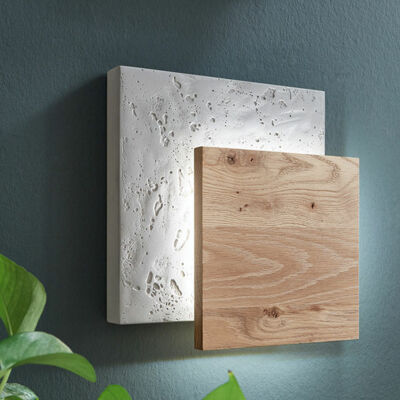 Wall lamp 1053 - Concrete with wooden base – Hartmann solid wood furniture